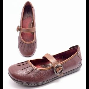 Born Shoes - Born 8M Brown Leather Mary Jane Flats Loafers